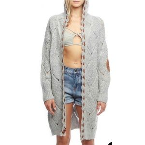 POL CABLE KNIT OPEN FRONT CARDIGAN